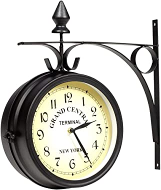 New Train Station Wall Mount Clock Grand Central 2 Sided Dial Garden Black Petro