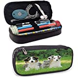 Dog Pencil Bag Simpatici animali domestici Cucciolo di famiglia nel giardino Pastori australiani e A Cat Scenery Cream Grey Fern Green