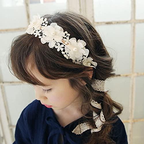 Diadema corona coreana de moda dulce princesa diadema larga cinta de encaje flores corona de niñas sombreros accesorios para el cabello diadema corona (color: blanco)