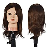 Cabeza de maniquí de cosmetología femenina profesional con cabello humano 100% 16 cabeza de muñeca de entrenamiento de peluquería trenzada con abrazadera de mesa