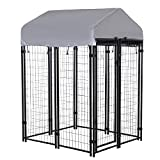 PawHut 4' x 4' x 6' Large Outdoor Dog Kennel Galvanized Steel Fence with UV-Resistant Oxford Cloth Roof & Secure Lock