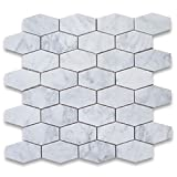 Stone Center Online Carrara White Marble 1-1/4x3 Elongated Hexagon Mosaic Tile Honed for Kitchen Backsplash Bathroom Flooring Shower Surround Dining Room Entryway Corrido Spa (1 Sheet)
