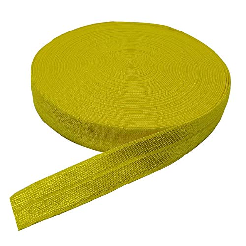 10 Yards Fold Over Elastic Stretch, Braided Elastic Ribbon for Hair Ties Headbands, Available in Various of Colours (Yellow-1, 5/8in)