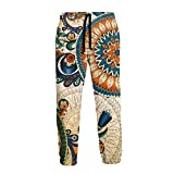 Ethnic Abstract Floral Men Funny Joggers Pants Sport Track Sweatpants with Pockets M