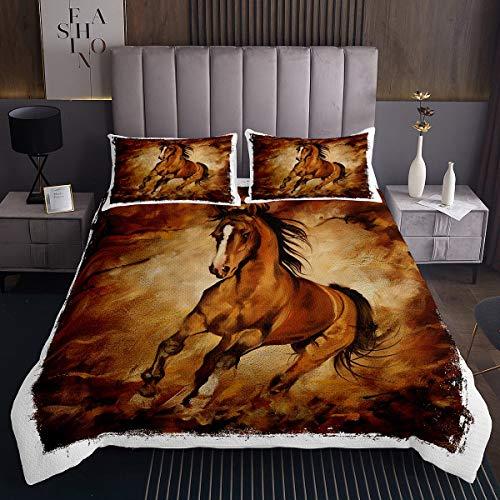 Erosebridal Bettbezug-Set für Teenager, Pferde, rustikaler Stil, Tagesdecke für Kinder, Jungen, Mädchen, Erwachsene, Bauernhof-Tiermuster, gesteppte Decke, Bettbezug, 3-teilig mit 2 Kissenbezügen