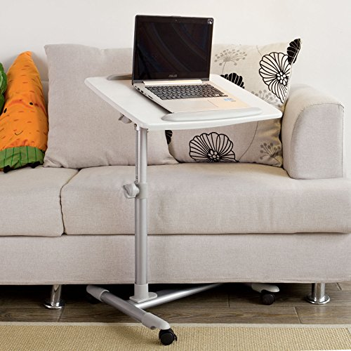 SoBuy Mesa Auxiliar con Ruedas, mesas de Centro, mesas para portatiles, mesitas de Noche, Altura Ajustable, FBT07N2-W