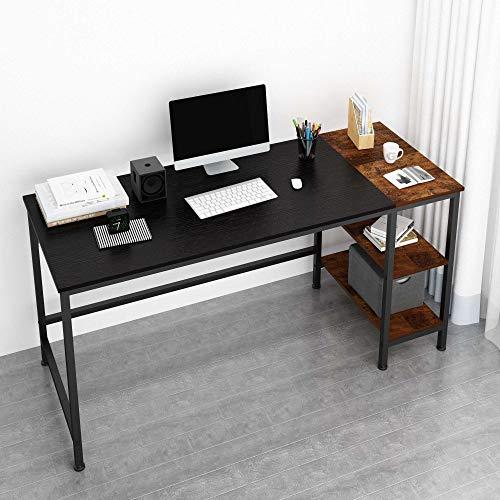 Scopri offerta per JOISCOPE Scrivania per Computer, Tavolo per Laptop, Scrittorio per Studio con Ripiani in Legno, Tavolo in Stile Industriale Realizzato in Legno e Metallo, 60 Pollici (Finitura Nera)