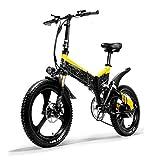 PHASFBJ Bicicleta Eléctrica Plegables, E-Bike 400W Motor y Frenos de Disco Duales Bicicleta Eléctrica de Montaña con Asiento Ajustable Pedales Bicis Electrica 7 Velocidades,Amarillo