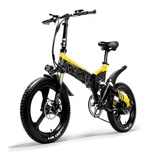 PHASFBJ Elektrofahrrad, Faltrad E-Bike Mountainbike 20 Zoll für Erwachsene Herren Damen Pedelec Citybike Klappbares 400W 12.8AH 7 Gang-Schaltung E-Citybike,Gelb