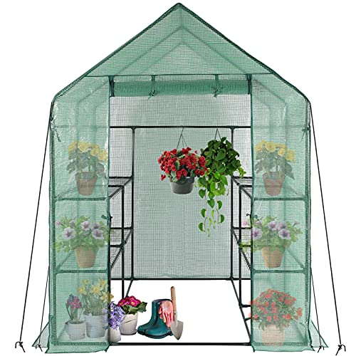 Walk in Greenhouse, Large Greenhouse Grow House with 8 Shelves and Cover, Big Size Plastic PE Greenhouse Tent with Frame, Planting Shed for Garden Outdoors Home Use