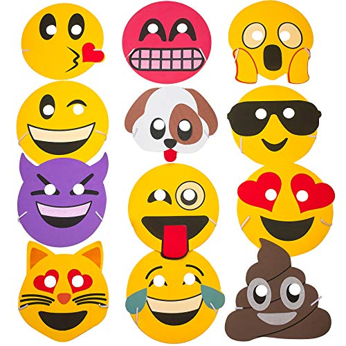 Kicko Foam Emoticon Masks - 12 Pack - 7.5 Inch - for Kids, Party Favors, Stocking Stuffers, Classroom Prizes, Decorations, Birthday Supplies, Holidays, Pinata Fillers, Novelties and Rewards