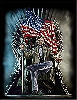 【FOX REPUBLIC】【鉄の玉座に座るエイブラハム リンカーン大統領】 黒マット紙(フレーム無し)A4サイズ