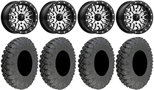 "Bundle - 9 Items: MSA Brute Beadlock 15"" ATV Wheels 32"" Race Tires [4x137 Bolt Pattern 10mmx1.25 Lug Kit]"