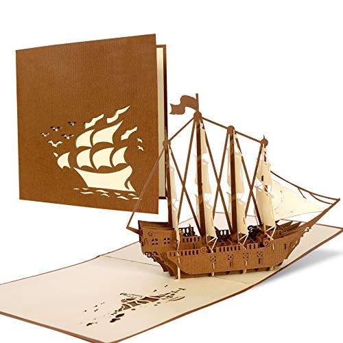 Tarjeta de felicitación 3d pop up de cumpleaños, cupon de regalo con velero. Tarjetas de viaje ideales como regalos para viajeros, B02