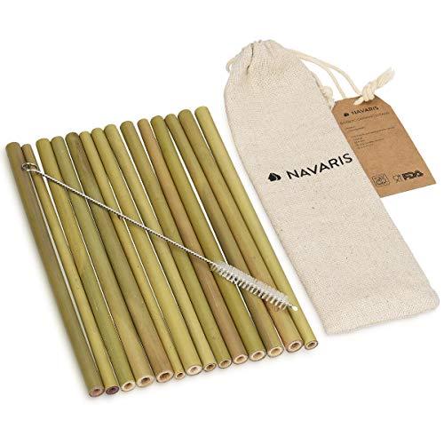 Navaris pajitas de bambú Reutilizables - Set de 14 cañitas para Beber biodegradables con Cepillo de Limpieza y Bolsa de Lino - Pajitas sin BPA