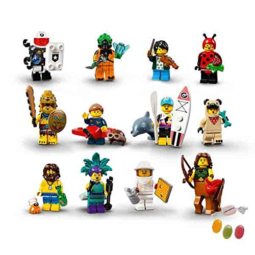 Lego® 71029 Minifiguren Serie 21 alle 12 Verschiedene Figuren zusätzlich 1 x Sticker-und-co Fruchtmix Bonbon