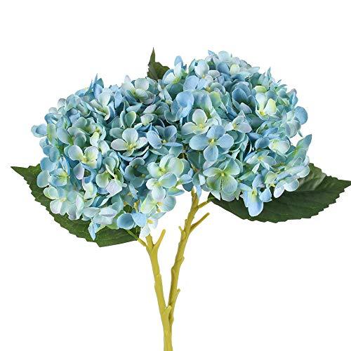 HUAESIN Künstliche Blumen 2 Pcs Kunstblumen Hortensie Blau Hortensien Seidenblumen Blumenstrauß Vintage Plastik Unechte Blumen Deko für Hochzeit Party Vase Tischdeko Balkon Garten 50cm Hoch