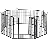 FEANDREA 8-Panel Pet Playpen, Iron Dog Cage, Heavy Duty Pet Fence, Puppy Whelping