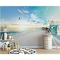Iusasdz カスタム壁紙壁画北欧小さな新鮮な3Dビーチカモメ海空風景背景壁3D壁紙-350X250Cm