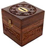 SAAGA Wooden Money Bank with Coin Slot for Kids and Adults/Handmade : 4x4x4