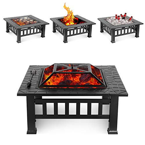Cheapest Price! HEMBOR 32'' Outdoor Fire Pit Table, Multi-Purpose Square Fireplace, Backyard Patio G...