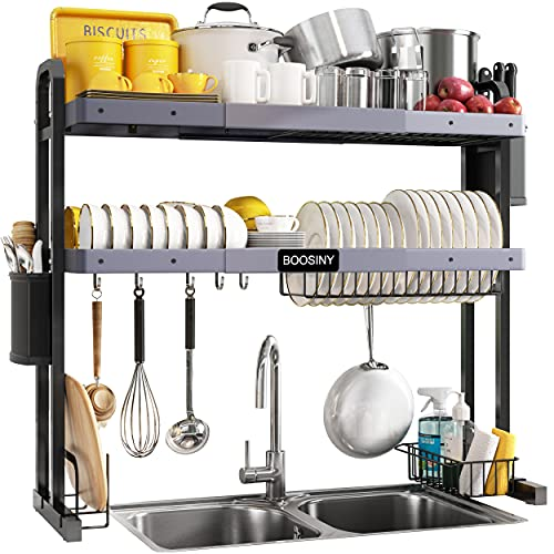 Over The Sink Dish Drying Rack, Boosiny 2 Tier Stainless Steel Large Adjustable Kitchen Dish Drainer(27.5'-33.5'), Space Saver Storage Organizer Shelf Above Counter with Utensil Holder and 6 Hooks