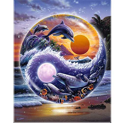 Puzzle 1000 piezas Regalo de paisaje con imagen de delfines y tortugas puzzle 1000 piezas Rompecabezas de juguete de descompresión intelectual educativo divertido juego famili50x75cm(20x30inch)