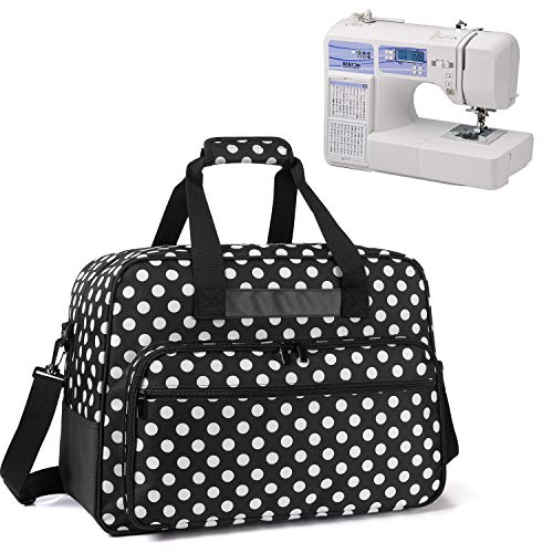 Yarwo Sewing Machine Tote Bag, Universal Portable Carrying Case with Anti-Slip Padded Bottom Compatible with Most Standard Sewing Machine and Supplies, Black Dots