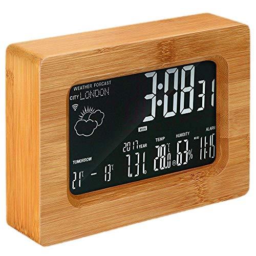 FPRW LCD-voorspellingsstation, houten draadloze digitale wekker, wifi, voor iOS Android smartphone, houtkleur