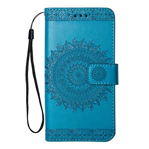 Homikon PU Leder Hülle Retro Blumen Schutzhülle Brieftasche Bookstyle Ständer Klapphülle Handyhülle Kartenfach Lederhülle Flip Case Wallet Cover Kompatibel mit Samsung Galaxy J7 2016 - Blau