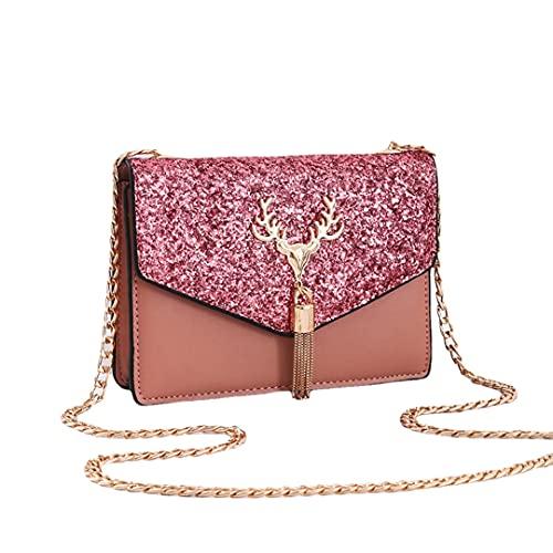 Bolso de Mano Cruzado para Mujer, Bolso de Noche con Brillo GM LIKKIE, Bolso de Boda con Borla de Lentejuelas para Fiesta (pink2,One Size)