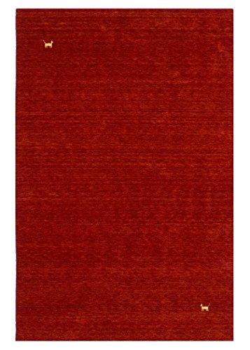 Morgenland Gabbeh Teppich ASTERIA Rot Einfarbig Tiere Schurwolle Handgewebt 300 x 200 cm