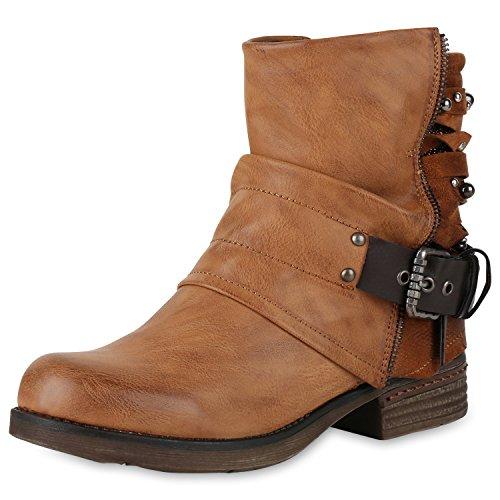 SCARPE VITA Gefütterte Damen Biker Boots Glitzer Stiefeletten Nieten Schuhe 150160 Hellbraun Braun 37