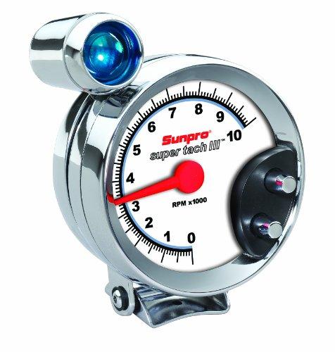 "Sunpro CP7914 Super Tach III 5"" Chrome Bezel/White Face Tachometer with Shift Light"