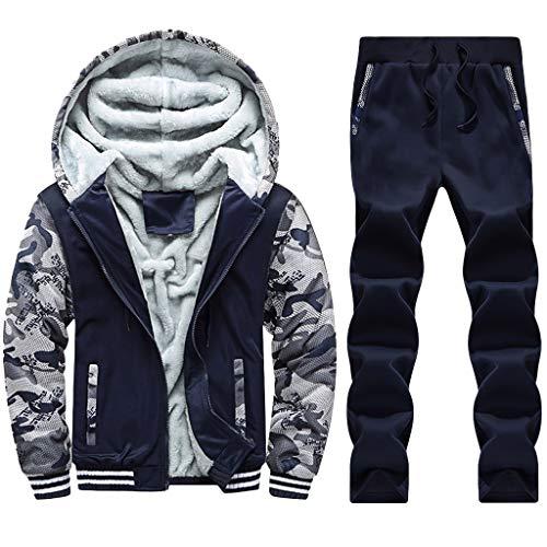 theshyer Costura de camuflaje con estampado de búho de invierno para hombre, más chaqueta acolchada de terciopelo, pantalón, traje