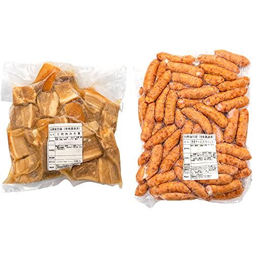 三枚肉みそ煮 & 荒挽チーズ入りウインナー 1kg×各1P 琉球ミート 沖縄の伝統的な豚肉料理の代表 味噌ラフテー