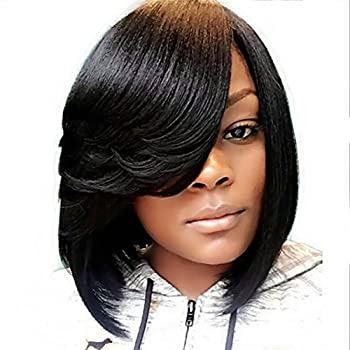 SCENTW Short Pixie Cut Bob Synthetic Wigs for Women Heat Resistant Costume African American Wigs with Side Bangs Natural Brown Full Wigs Look Real+Free Wig Cap  Black