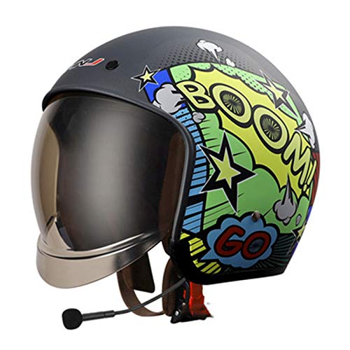 ABDOMINAL WHEEL Casco Moto Bluetooth,Medio Casco de Moto,Casco De Moto con Visera Solar,Certificación ECE Casco De Moto Abierto para Mujer Hombre,Media Cara Casco De Protección Scooter D,M=57~58CM