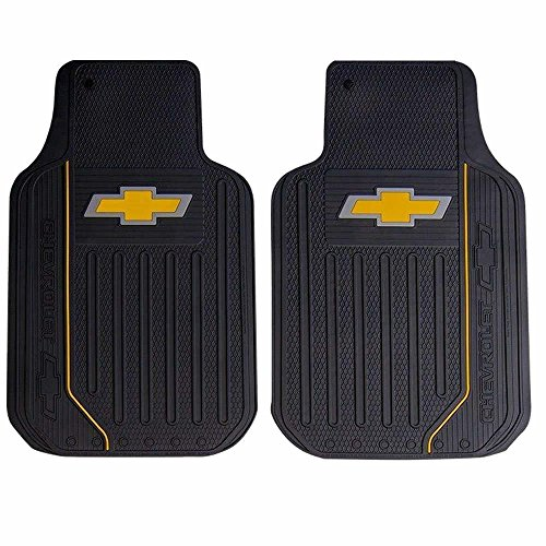 U.A.A. INC. Chevy Chevrolet Elite Style 2pc Front Black Rubber Universal Car Truck Floor Mats Set