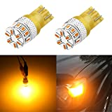 Alla Lighting Xtreme Super Bright 168 194 LED Lights Bulbs Amber Yellow T10 Wedge 3014 18-SMD 12V...