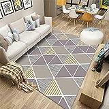 AU-SHTANG alfombras Modernas Alfombra Gris, Patrón de triángulo, Bebé de Moda Crawning Anti-Skid Tea Alfombra Serial Alfombra Antideslizante ba?era -Gris_120x180cm