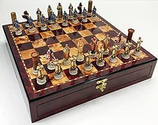 Medieval Times Crusades Arabian vs Christian Knights Chess Set W/ High Gloss Cherry & Burlwood Color Storage Board 17