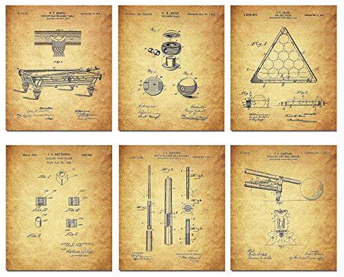 Wall Art Home Decor Billiard Patent Poster Prints Set von 6 DIN A4 (21 cm x 29 cm), ungerahmt für Liebhaber des Billardspiels