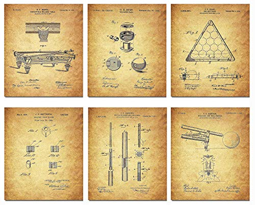 Wall Art Home Decor Billiard Patent Poster Prints Set von 6 DIN A4 (21 cm x 29 cm), ungerahmt für Liebhaber des Billardspiels