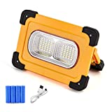 AKT LIGHTING LED Work Light Solar USB Rechargeable 80W 4800LM Portable Waterproof 70LED Flood Light for Outdoor Camping Car Repairing Job Site Lighting & Emergency SOS (80watts)