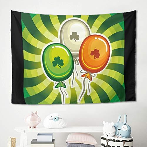 Gamoii Tapiz para colgar en la pared con globos de San Patricio, toalla de playa, esterilla de yoga, cómoda, dormitorio, 230 x 150 cm, color blanco