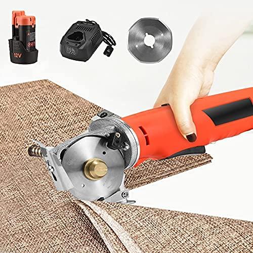 Cortadora de tela eléctrica,SPUIOOY cuchillo cortador de tela inalámbrico,grosor de corte 25 mm,tamaño de hoja 70 mm,afilado automático,para cortar textiles,cuero,papel,algodón