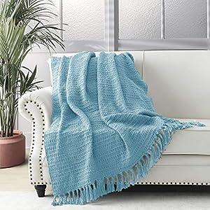 Manta gruesa de punto azul claro para sofá, silla, sofá, cama, estilo bohemio, con patrón de tejido con flecos decorativos, 127 x 152 cm