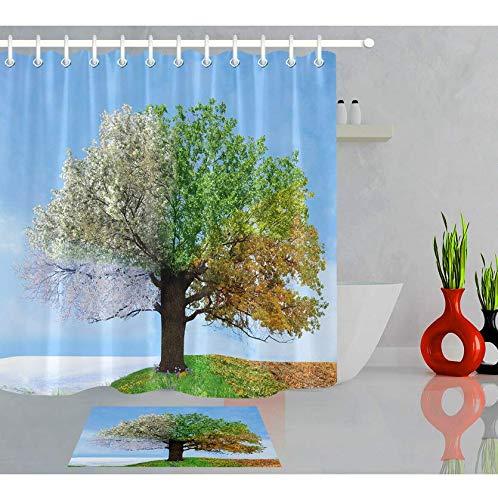 RTYRT 3d bathroom curtain Four Season Tree Tropical Shower Curtain Waterproof and Mould(180 * 200cm)