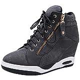 rismart Cuñas Oculta Zapatillas Mujer Alta Deportivas Sneakers Mezclilla Cómoda Cojín Botines Negro 38 EU
